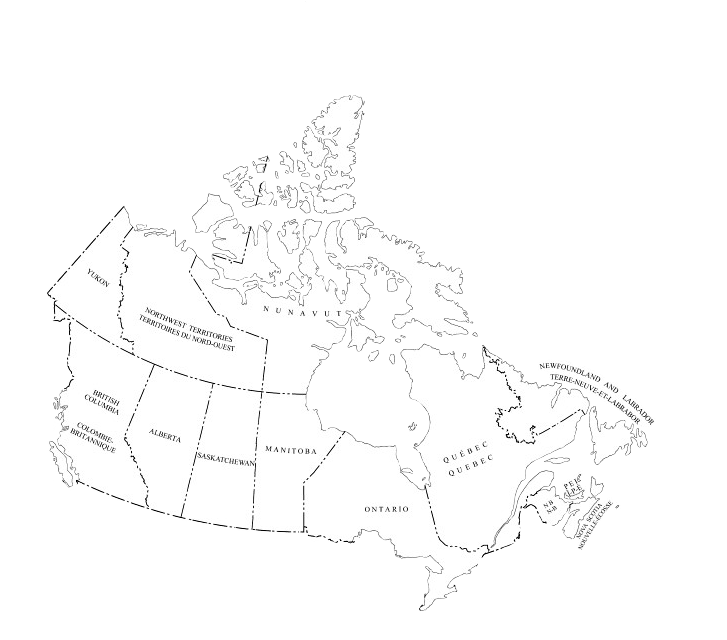 Clickable map of Canada
